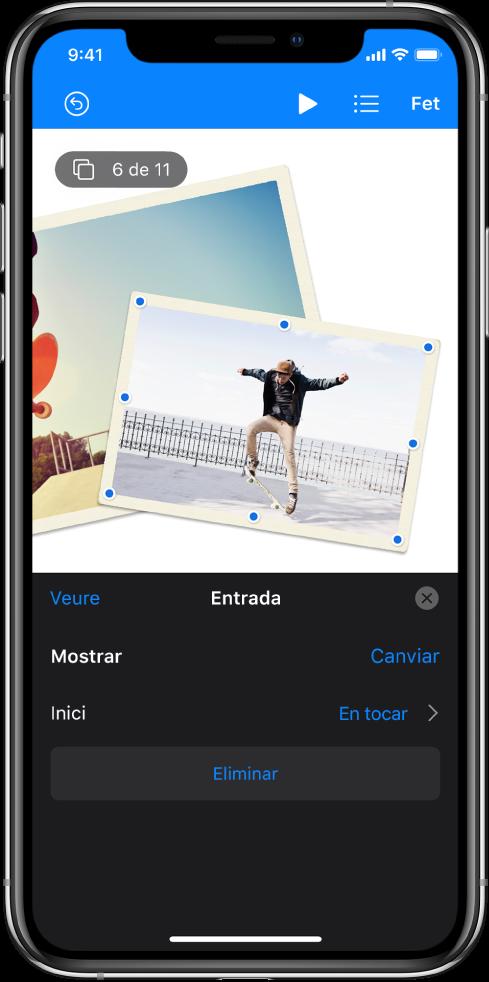 Controls de l'animació de la imatge seleccionada a la diapositiva. A la part inferior de la pantalla hi ha els controls per a l'efecte Entrada que s'està fent servir.