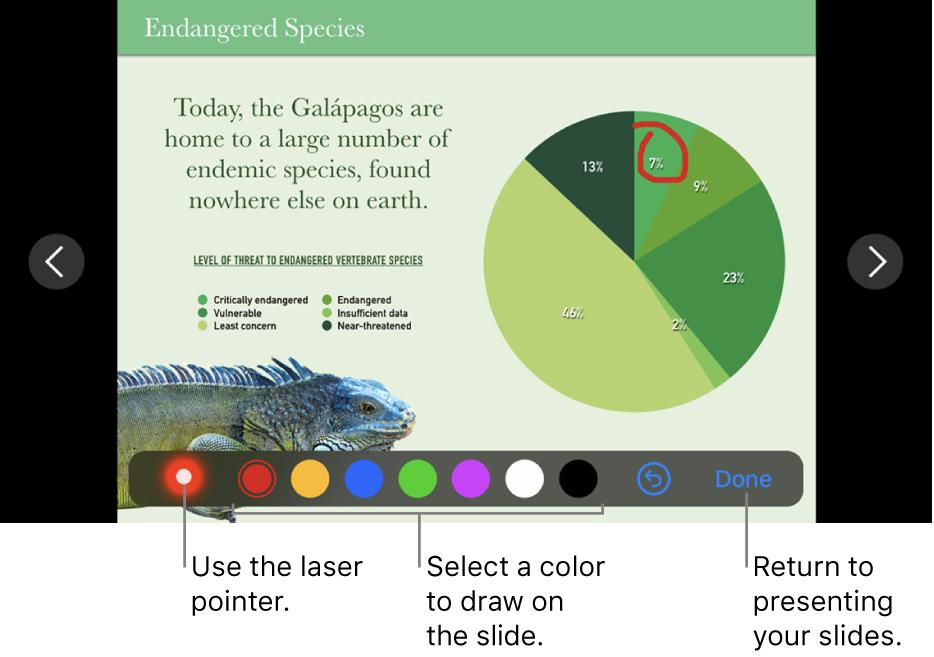 A slide in slide illustration mode showing the laser pointer and color selection controls.
