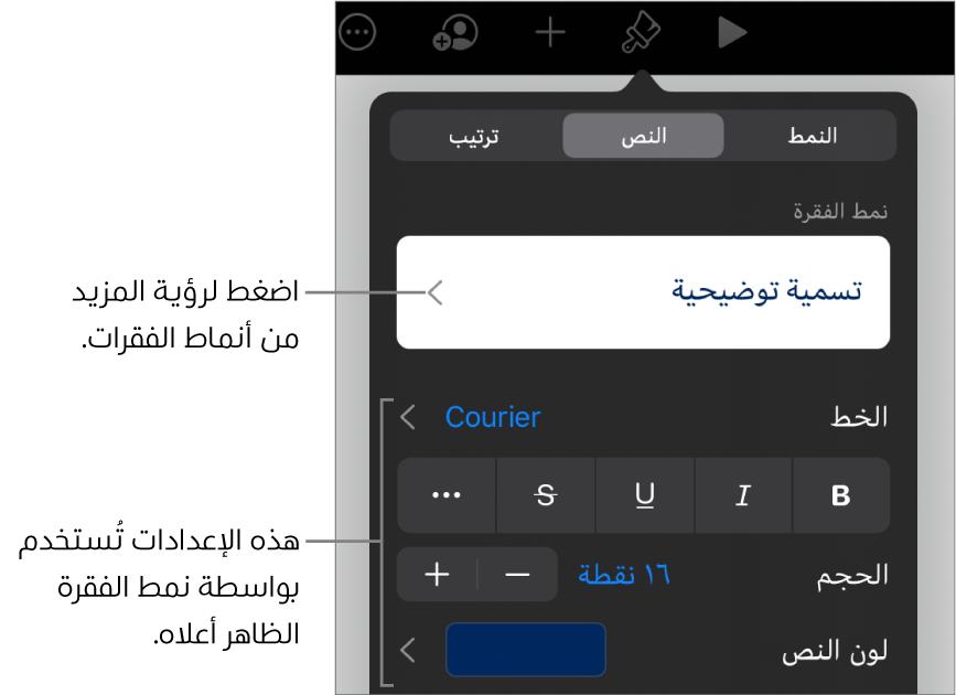 القائمة تنسيق تعرض عناصر التحكم في النص لإعداد أنماط الأحرف والفقرات والخط والحجم واللون.