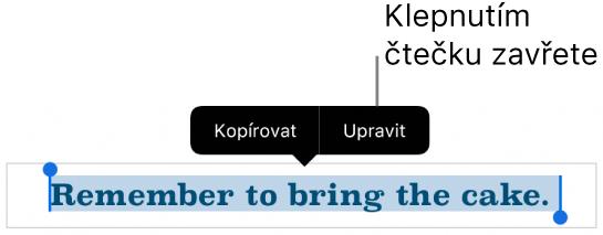 Je vidět vybraná věta; nad ní se nachází místní nabídka stlačítky Kopírovat aUpravit