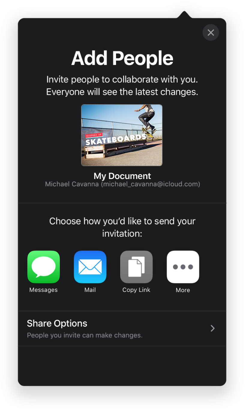 The Add People screen showing a picture of the presentation to be shared. Below it are buttons for ways to send the invitation, including Mail, a Copy Link, and More. At the bottom is the Share Options button.