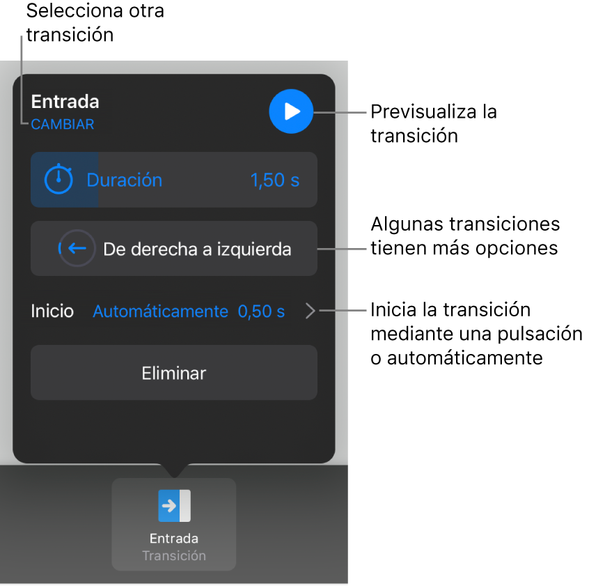 Controles del panel Opciones para modificar una transición.