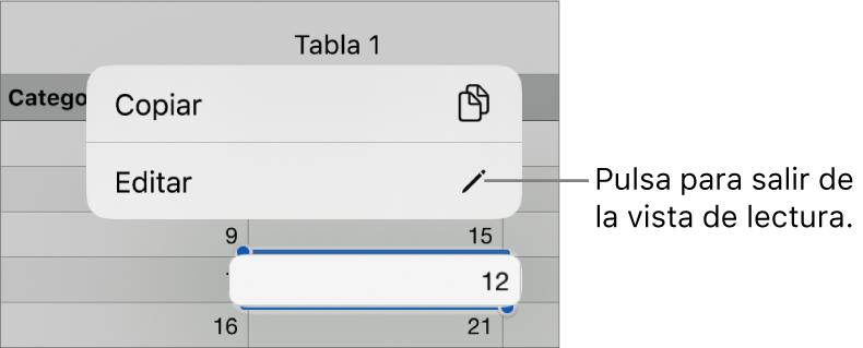 Hay seleccionada una celda de tabla y por encima de ella aparece un menú contextual con botones Copiar y Editar.