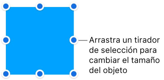 Un objeto con puntos azules en su borde para cambiar el tamaño del objeto.