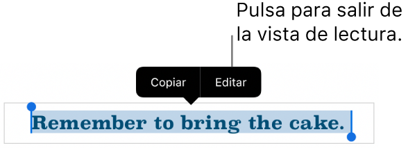Hay seleccionada una oración y encima de ella aparece un menú contextual con botones Copiar y Editar.