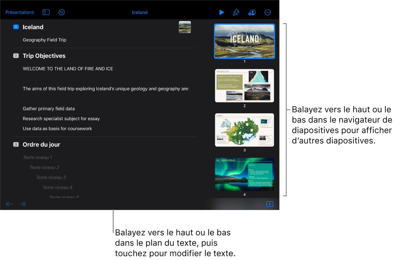 Le mode Structure avec une structure de texte d'une présentation à gauche de l'écran et le navigateur de diapositives vertical à droite.