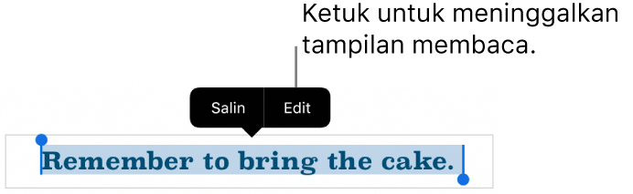 Kalimat dipilih, dan di atasnya terdapat menu kontekstual dengan tombol Salin dan Edit.