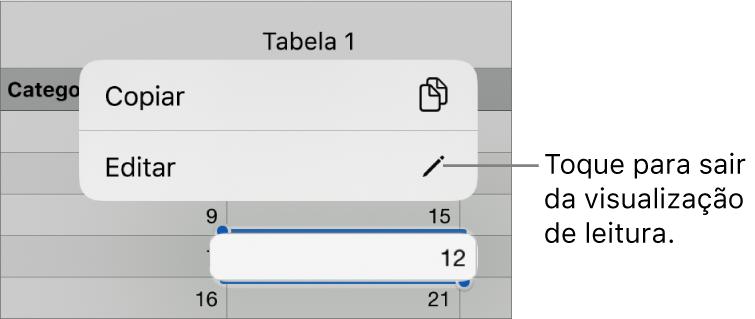 Uma célula de tabela está selecionada e acima dela está um menu com os botões Copiar e Editar.