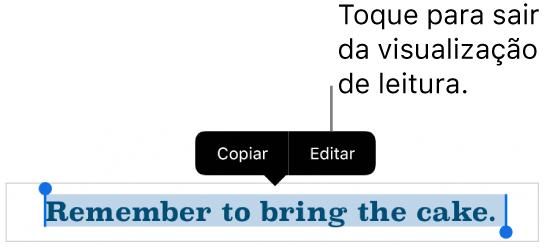 Uma frase está selecionada e acima dela está um menu contextual com os botões Copiar e Editar.