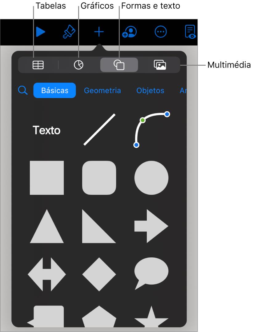 Os controlos para adicionar um objeto, com botões na parte superior para escolher tabelas, gráficos, formas (incluindo linhas e caixas de texto) e multimédia.