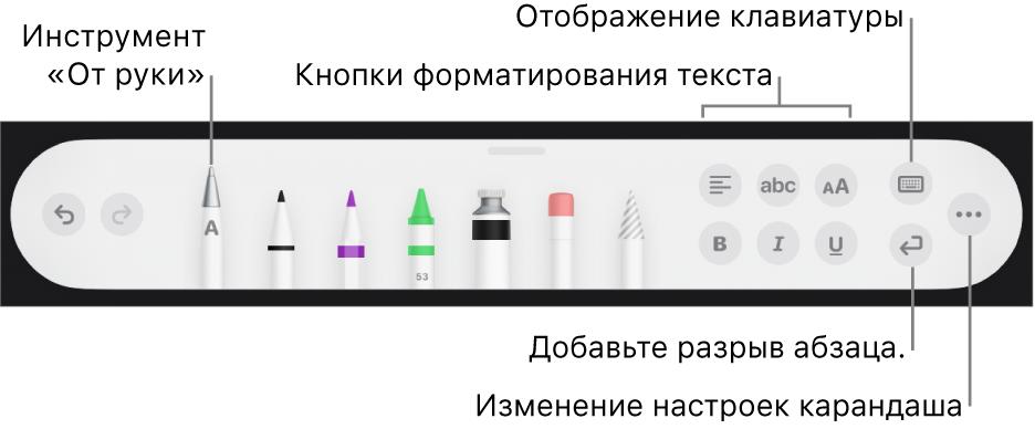 Панель инструментов письма ирисования. Слева отображается инструмент «Отруки». Справа находятся кнопки форматирования текста, отображения клавиатуры, добавления разрыва абзаца иоткрытия меню «Еще».