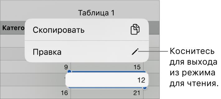 Выбрана ячейка таблицы; над ней отображается меню скнопками «Скопировать» и«Правка».