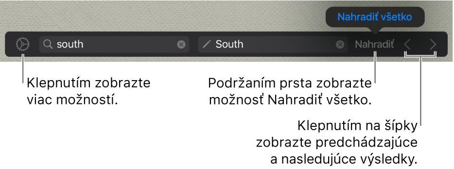 Ovládanie nájdenia anahradenia textu.
