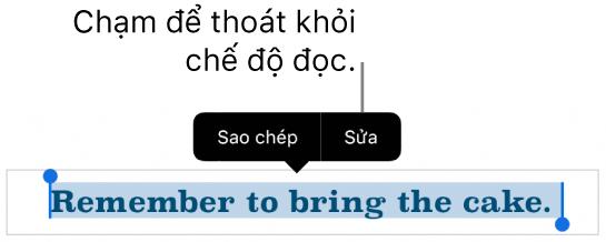 Một câu được chọn và phía trên câu đó là menu ngữ cảnh với các nút Sao chép và Sửa.