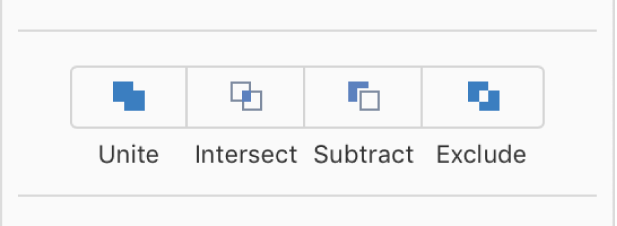 The Unite, Intersect, Subtract, and Exclude buttons at the bottom of the Arrange tab in the Format sidebar.