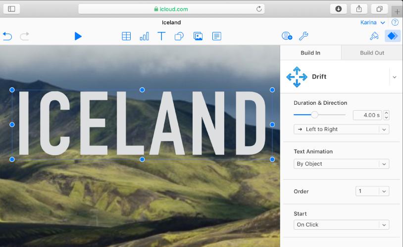Une zone de texte est sélectionnée dans une diapositive et l'onglet Entrée est sélectionné en haut de la barre latérale Animer sur la droite. L'animation Dérive est sélectionnée dans un menu contextuel, et les options servant à personnaliser l'animation s'affichent en dessous, dans la barre latérale.