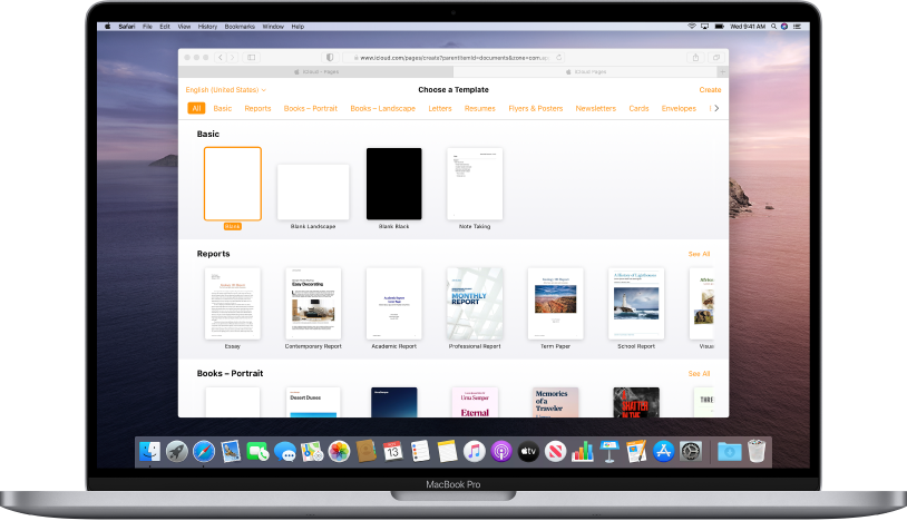 The template chooser is open and shows a range of sample documents to choose from.