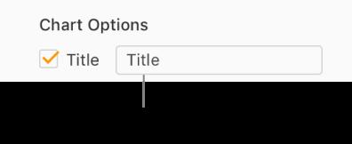 Dans la section Options du graphique de la barre latérale Format, la case Titre est cochée. La zone de texte située à droite de la case à cocher indique le titre fictif du graphique: «Titre».