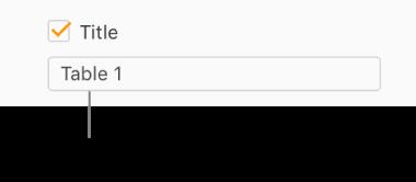 La case Titre est cochée dans la barre latérale Format. Une zone de texte sous la case à cocher indique le titre fictif du tableau: «Tableau1».