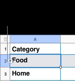 En una tabla se ha seleccionado un número de fila y la flecha abajo se ve a su derecha.