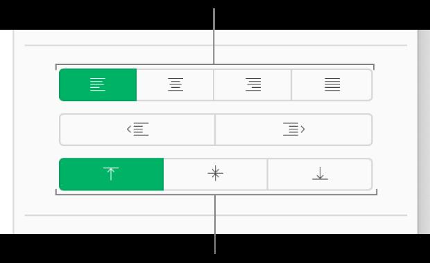 Los botones de alineación de texto verticales y horizontales de la barra lateral Formato.