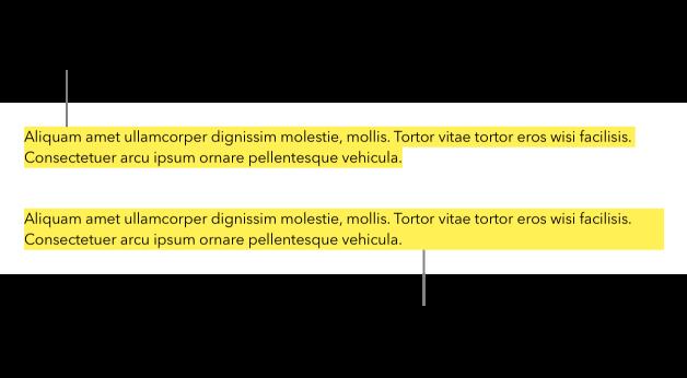 Un párrafo con un color amarillo solo detrás del texto y un segundo párrafo con un bloque de color amarillo detrás del párrafo que se extiende de margen a margen.