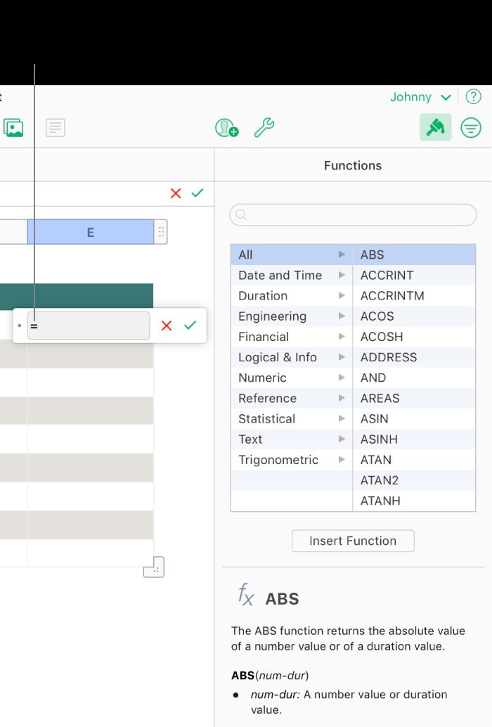 El editor de fórmulas aparece sobre una celda con un símbolo de igual, y el explorador de funciones de la barra lateral muestra las funciones disponibles. Debajo de las funciones de la barra lateral se muestra una descripción de la función seleccionada.