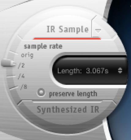 """Der Schieberegler """"Sample Rate"""" des SpaceDesigner-Effekts in den Impulsantwort-Steuerungen."""