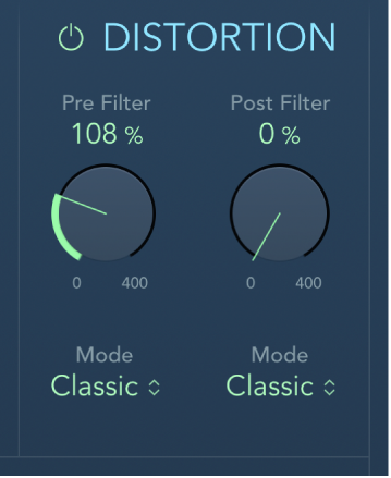 The AutoFilter Distortion controls.