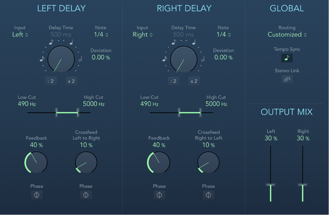 The Stereo Delay window.