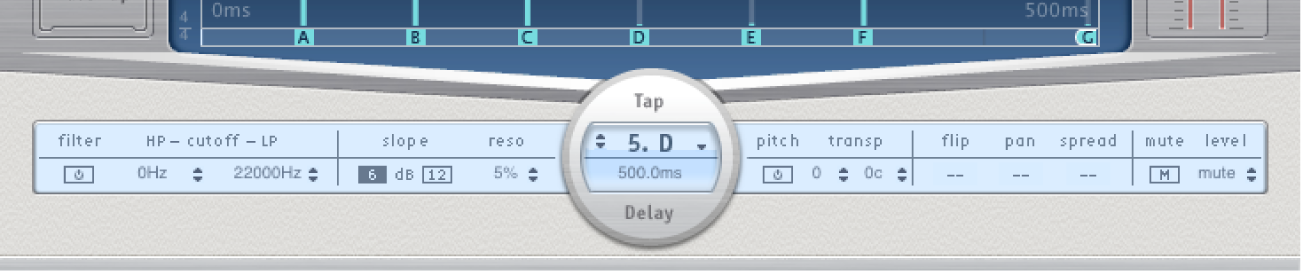 The Delay Designer Tap parameter bar.