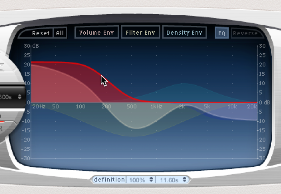 An EQcurve being graphically edited in the Space Designer main display.