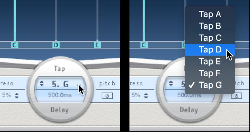 A tap name and pop-up menu below the Delay Designer Tap display.