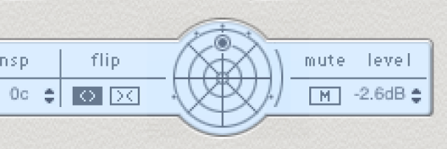 The Delay Designer Tap parameter bar, showing the surround panner.