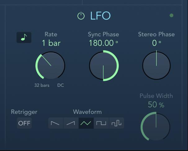 Controles de LFO de AutoFilter.