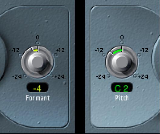 Controles de Formant y Pitch de Vocal Transformer.