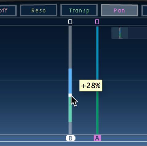 Pantalla Tap de DelayDesigner, mostrando la edición del balance.