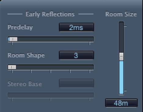 """Controles de """"Early Reflections"""" de PlatinumVerb."""