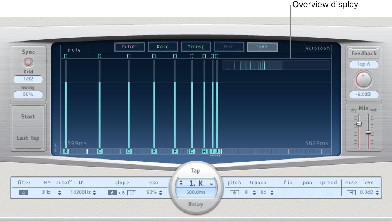 Pantalla Overview en la esquina superior derecha de la pantalla Tap de DelayDesigner.