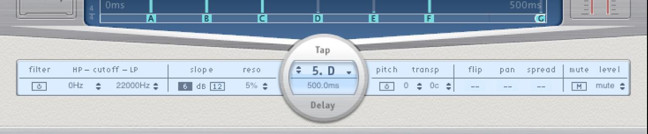 Barra de parámetros Tap de DelayDesigner.