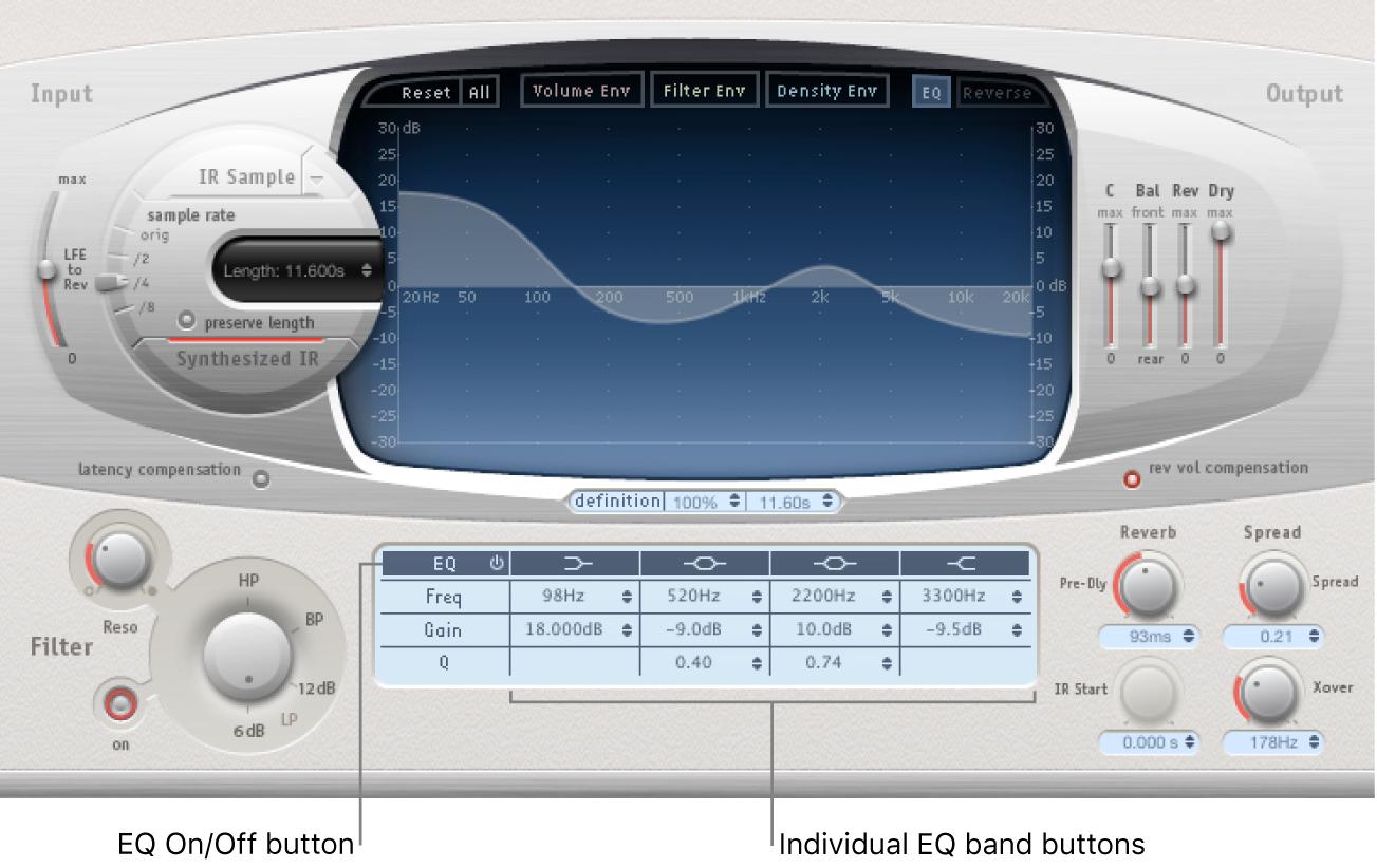Controles de ecualización de SpaceDesigner.