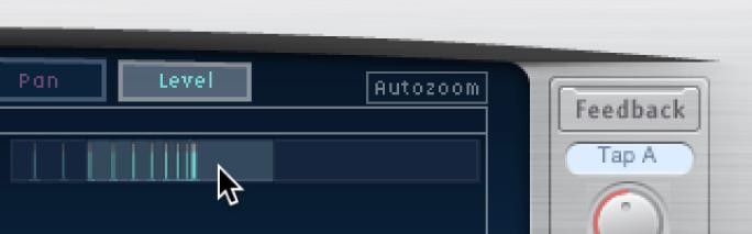Sección destacada de la pantalla Overview de DelayDesigner arrastrada verticalmente para mostrar u ocultar la pantalla Tap.