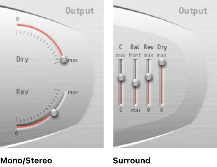 Controles de salida de SpaceDesigner, mostrados en los modos estéreo y surround.