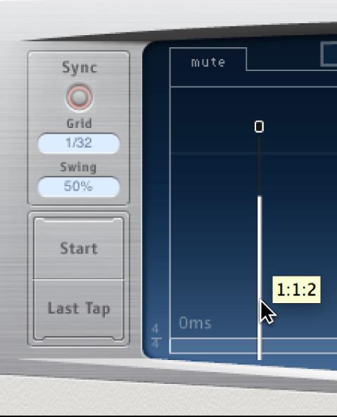 Línea de retardo arrastrada hacia afuera de la pantalla Tap de DelayDesigner.