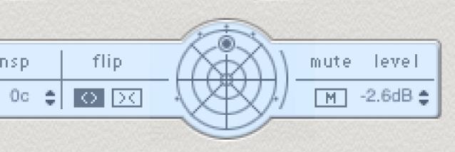 Barra de parámetros de línea de retardo de DelayDesigner, mostrando el panoramizador surround.