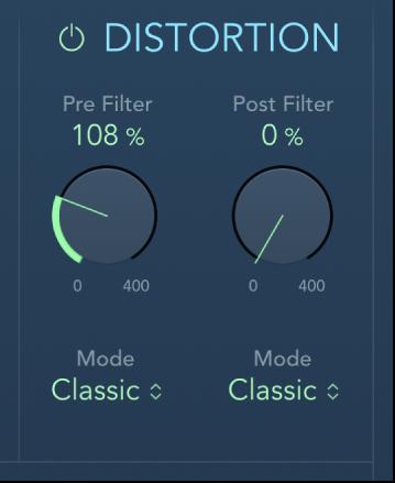 Commandes Distortion d'AutoFilter.