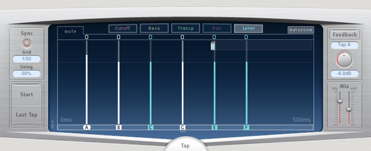 Écran Tap de DelayDesigner, avec plusieurs taps sélectionnés.