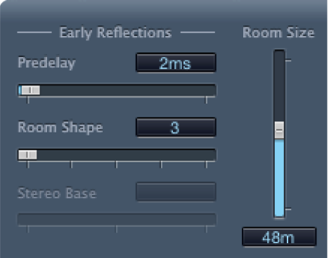 PlatinumVerbの「Early Reflections」コントロール。