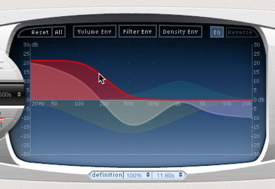 Space Designerのメインディスプレイでグラフィカルに編集されるEQカーブ。