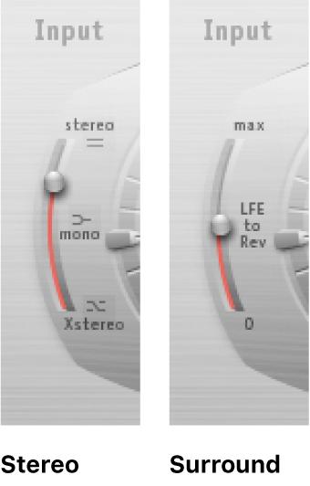 Space Designerのステレオモードとサラウンドモードの「Input」スライダ。